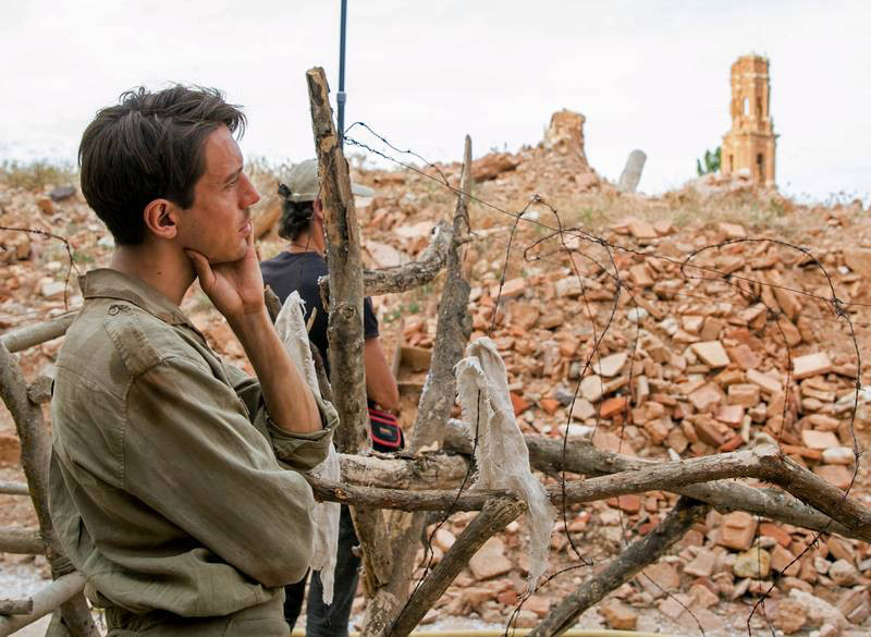 Marcel Borràs, durante el reciente rodaje de 'Incierta gloria'